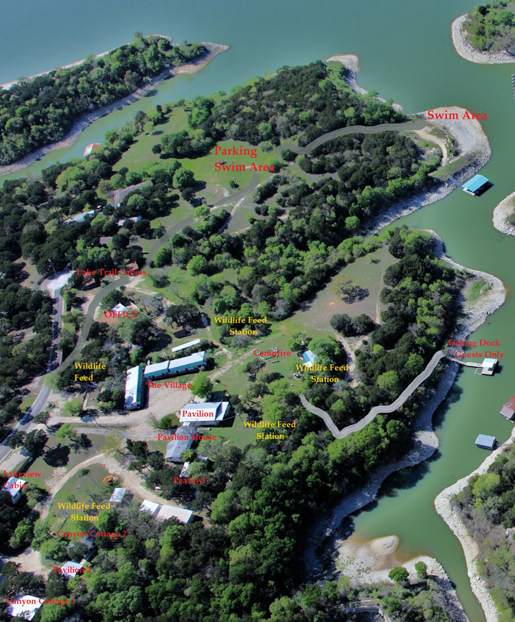Aerial Map of Cherokee Village Resort at Lake Whitney